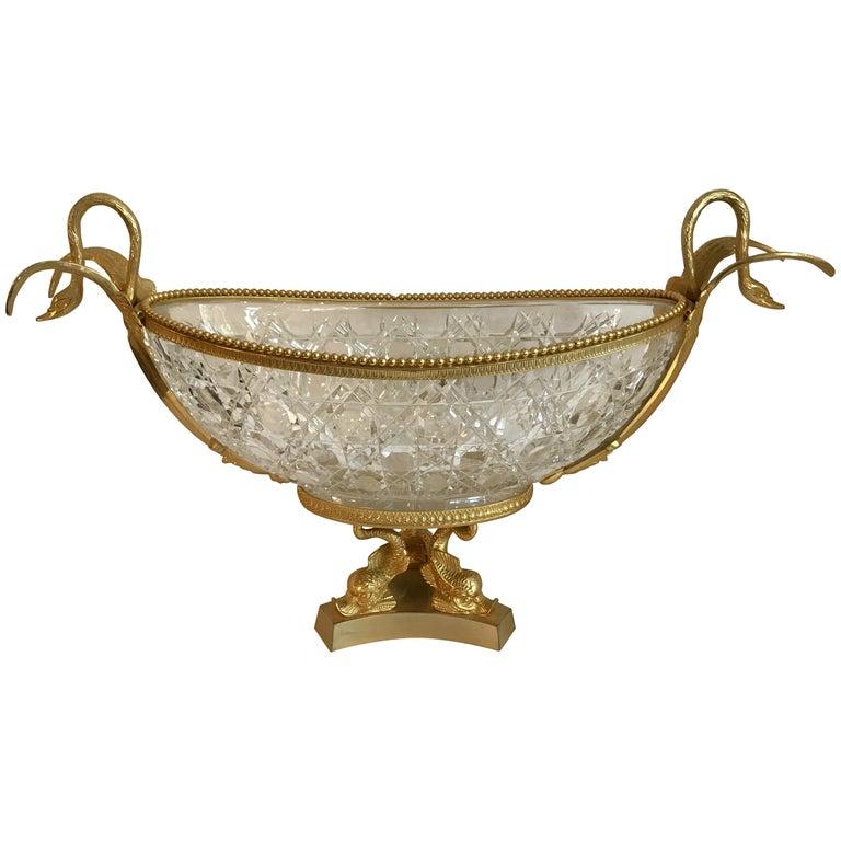 Wonderful French Doré Bronze Crystal Ormolu Swan Centerpiece Dolphin Pedestal