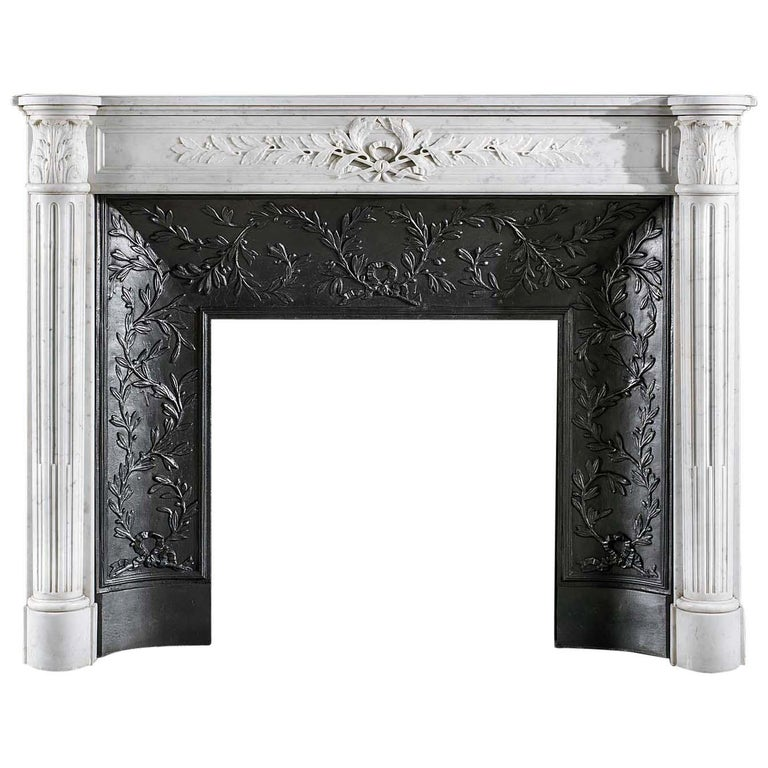 Louis XVI Carrara marble fireplace surround, 19th century, offered by Westland London