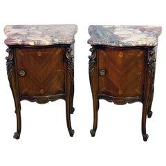 Pair of French Regency Style Marble-Top Nightstands