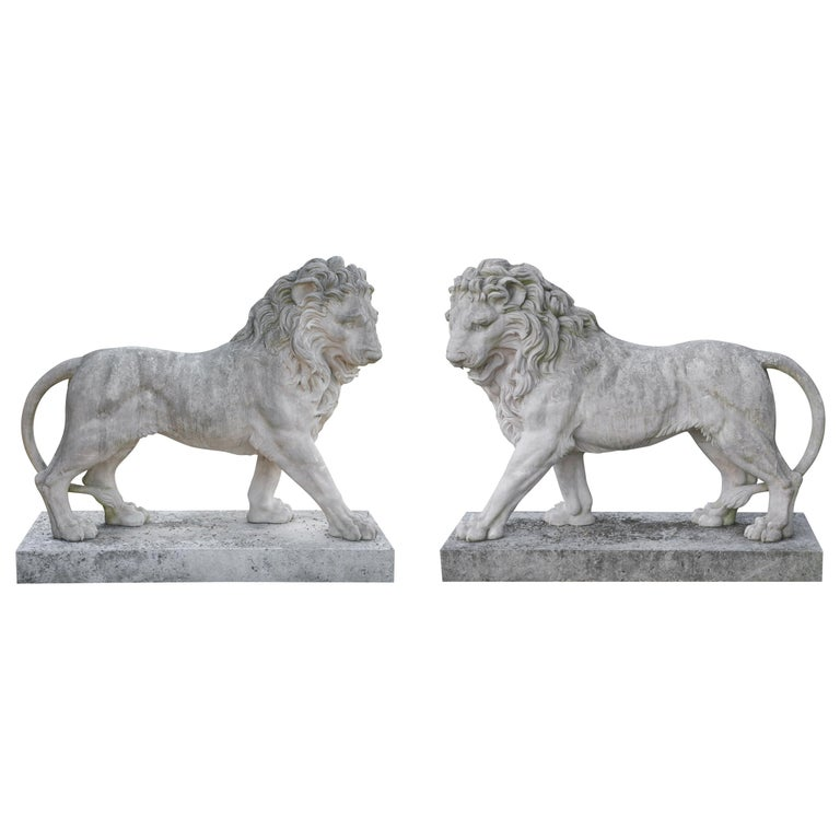 Large Pair of Coade Standing Lions  For Sale