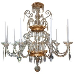 Neoclassical Glass and Gilt Italian Murano or Genoese Chandelier