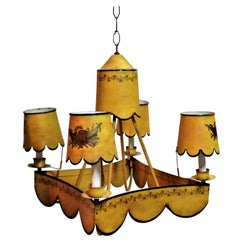 Italian Tin Tole Painted Neoclassical Style Chandelier