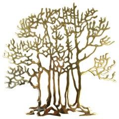 Bijan Modern Brass Tree Wall Sculpture