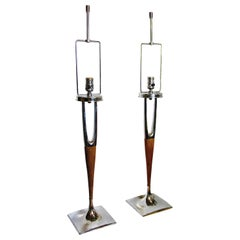 Pair of American Modern Mahogany and Polished Nickel Table Lamps, Laurel Lamp Co