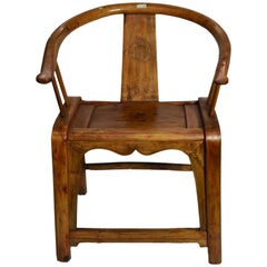 19th Century Chinese Hand-Carved Wooden Chair with Horseshoe Back and Stretcher