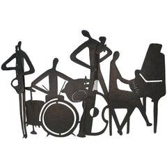 Mid-Century Modern Jazz Musicians Metal Wall Sculpture