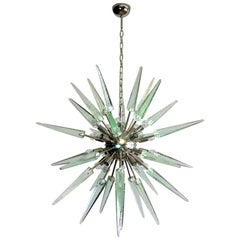 Exceptional Murano Green Glass Sputnik Chandelier