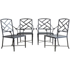 Set of Four Powder Coated Aluminum Garden Chairs