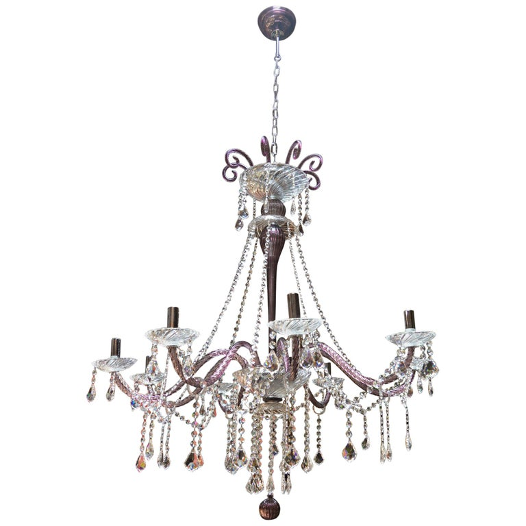 Amethyst Crystal Murano Chandelier For Sale