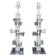 Pair of Acrylic Lamps