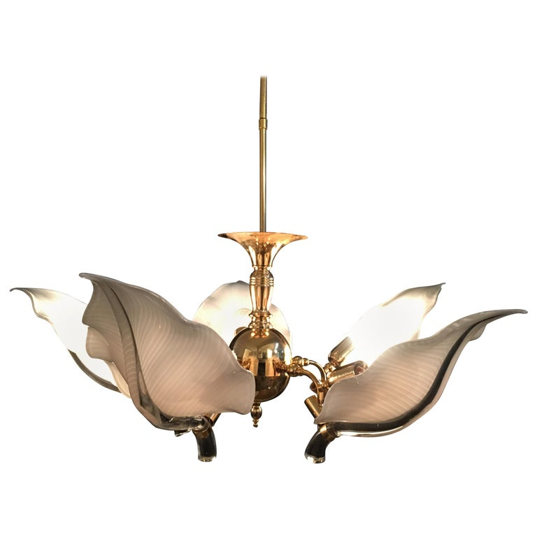 Italian Murano Glass Chandelier by Franco Luce, circa 1970 For Sale