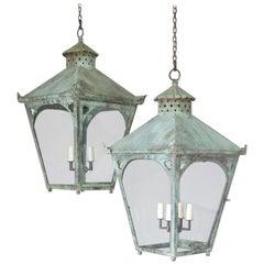 Large Pair of Verdigris Copper Lanterns