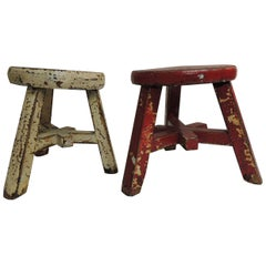 Pair of Small Asian Yellow and Red Lacquered Round Artisanal Stools