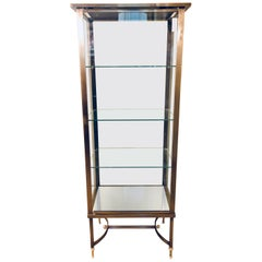 French Hollywood Regency or Directoire Style Steel and Bronze Vitrine Cabinet