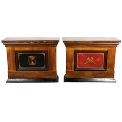 Pair of American Odd Fellows Lodge Wood Counters Grain Painted