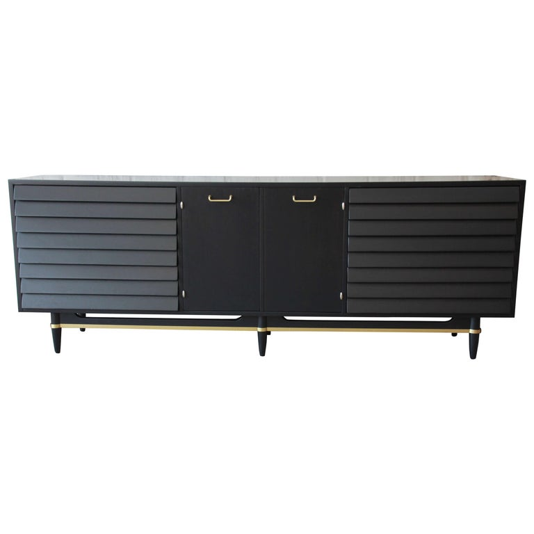 Merton Gershun for American of Martinsville Louvered Front Ebonized Triple Dress