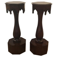 Pair of Walnut Plant Stand Pedestals 19th Century