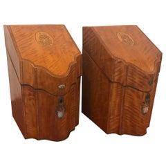 Pair of Inlaid Satinwood Knife Boxes