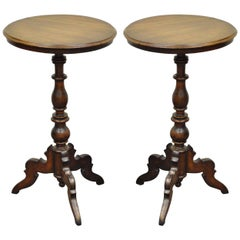 Antique Pair of Round Carved Walnut Colonial Pedestal Side End Tables