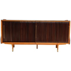Rosewood and Oak French 1950s Tamboor Door Credenza