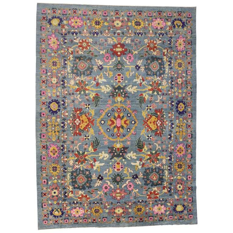 Modern Oushak Rug: New Colorful Turkish Oushak Rug With Modern Contemporary