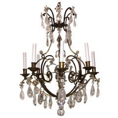 Wonderful French Gilt Baguès Rock Crystal Bird Cage Flower Bouquet Chandelier