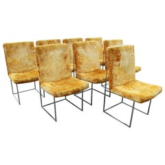 Mid-Century Modern Milo Baughman for Thayer Coggin Set of 8 Chrome Dining Chairs