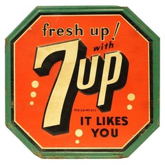 1940s-1950s Original 7up Soda Tin Advertising Sign