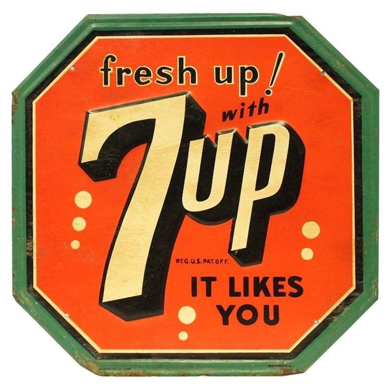 1940s-1950s Original 7up Soda Tin Advertising Sign