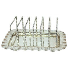 English Hukin & Heath Aesthetic Movement Silver Plate Toast or Letter Rack