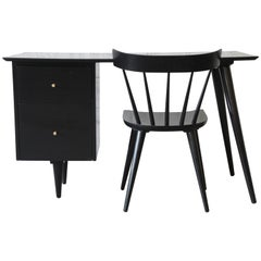 Paul McCobb Planner Group Ebonized Desk and Chair