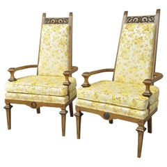 Pair of French Hollywood Regency Italian High Back Gold Fireside Lounge Chairs
