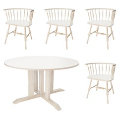 Compass Round Table and Atlantic Chairs in Glacier Stain on Ash by O&G Studio