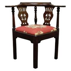 19th Century Georgian English Irish Mahogany Needlepoint Seat Corner Chair