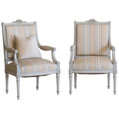 Antique Pair of Armchairs in Stripe Fabric