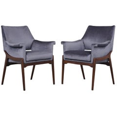 Pair of Modern Rosewood Chairs with Lacquered Finish