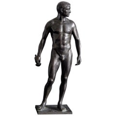 """Standing Male Nude,"" Superb Bronze of Swordsman by Oscar Bodin"