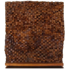 "Mid-Century Modern Wooden Large Sculpture ""Wall"" by Arthur Hoener, 1964"