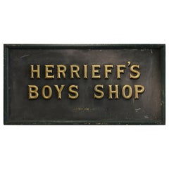 "1900s Gold Leaf Letters Sign ""Herrieff's Boys Store"""