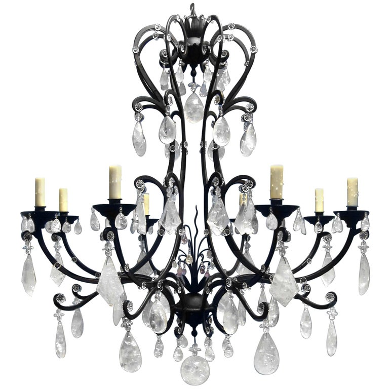 Rock Crystal and Wrought Iron Genoese Chandelier
