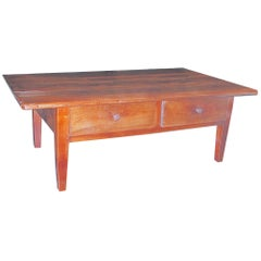 French 19th Century Cherrywood Coffee Table with Two Large Drawers
