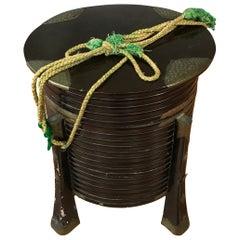 "Antique Japanese Edo Period ""Hakko Bako"" Lacquer Samurai Box ""B"""
