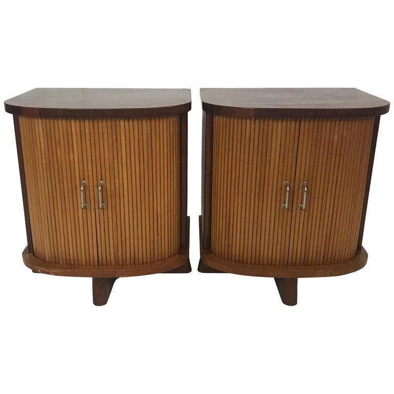 Pair of Danish Modern Nightstands with Tambour Doors