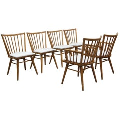 Set of Six Midcentury Maple Spindle Back Dining Chairs by Conant Ball