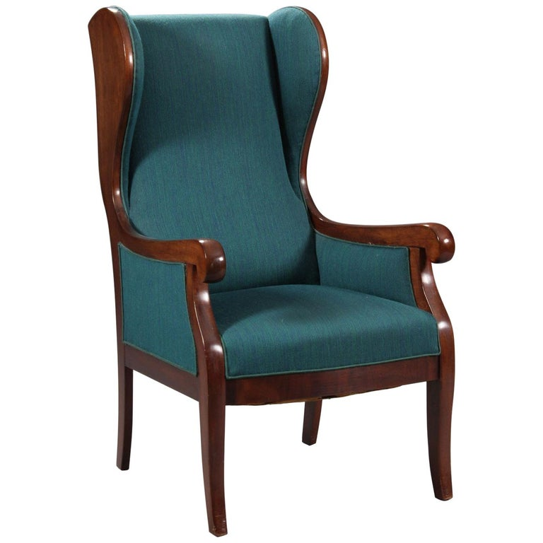 Danish 1940s Wingback Chair in Mahogany by Master Carpenter Frits Henningsen