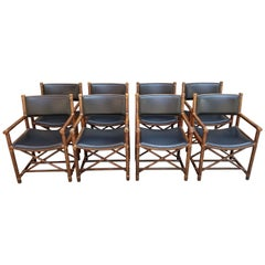 Set of Eight McGuire Bamboo and Leather Chairs
