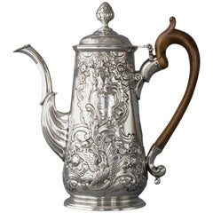 Irish George II Silver Coffee Pot, Dublin, circa 1734