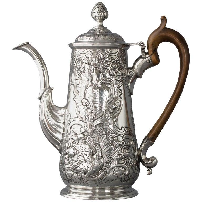 Irish George II Silver Coffee Pot, Dublin, circa 1734
