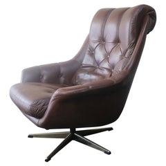 Danish Midcentury 1970s Leather Lounge Chair