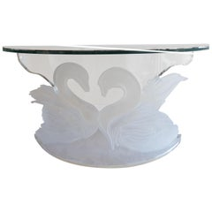 Curved Glass Console with Plexiglass